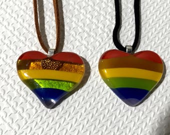Fused Glass LGBT Gay Pride Heart Pendant