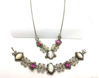 Antique Art Deco Spun Silver Pink Glass Stone Carved Shell Cameo Filigree Necklace & Bracelet Set