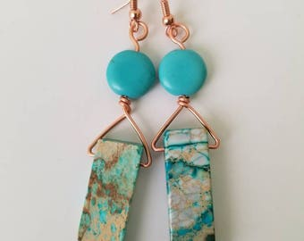 Turquoise natural stone in copper wire dangle beads