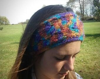 Multicolored Cable Knit/Crochet Headband, Head Wrap, Ear Warmer