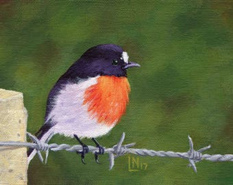 Bird on Barbed Wire 5x7 Acrylic Painting