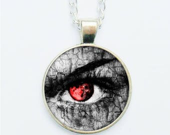 Staring Red Eye Pendant Necklace Earrings Ring Pin Badge Spooky Dramatic Striking Weird Grey & Red Jewellery Jewelry