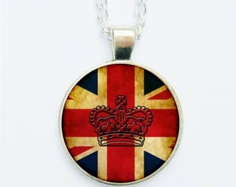 Grungey Union Jack & Crown Pendant Necklace  Earrings  Ring  Pin Badge Red White Blue Flag The Brits British English Monarchy Royal Family