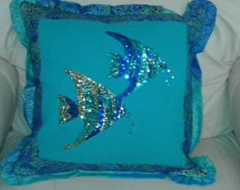 Pieced Sequin Fish Pillow
