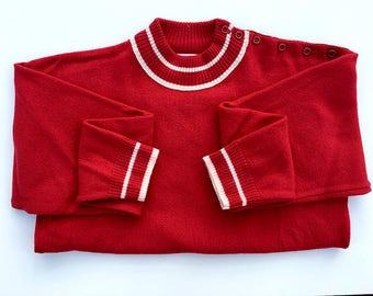Vintage - Red - Pendleton - Collegiate - Wool Sweater - Size Medium