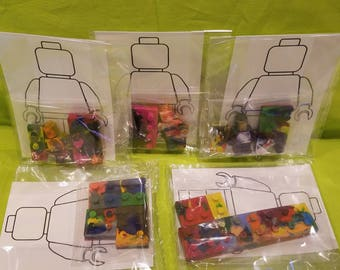 LEGO CRAYON Handmade Custom Kid Party Favor Boy Girl Colors Holiday Stocking Stuffer