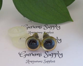 10mm Gold Iris with Black Pupil Round Safety Eyes and Washers: 8 Count/ 4 Pairs - Dolls/ Amigurumi/ Animals/ Stuffed Creations/ Craft / Toy