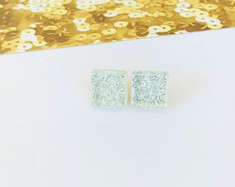 Glass  Mosaic Tile Silver Glitter Stud, silver earrings, square earrings, glitter earrings, glass earrings, hypoallergenic, tile earrings.