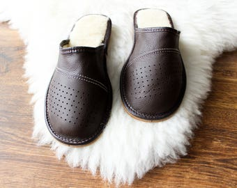 Men's slippers Warm slippers Leather slippers Wool Slippers Leather moccasins Shoes Boots light real leather genuine leather brown boots