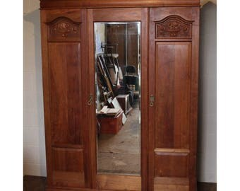 A Quality Victorian Satinwood Mirror Fronted Fitted Triple Wardrobe by Maple & Co