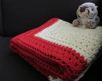 Crocheted red and white Plaid