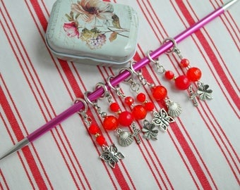 Knit stitch markers Stitch markers set Red stitch markers Charm stitch markers Knitting markers Stitch markers Gift for knitters