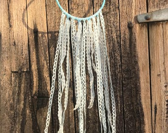 Baby blue lace wall hanging