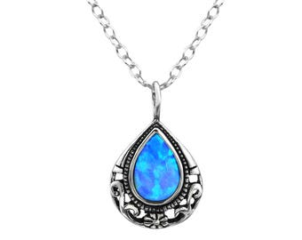 Silver Teardrop Necklace With Faux Opal