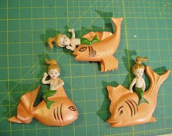 Trio of Arnels Mid Century Chalkware 3 MERMAID BABIES on FISH