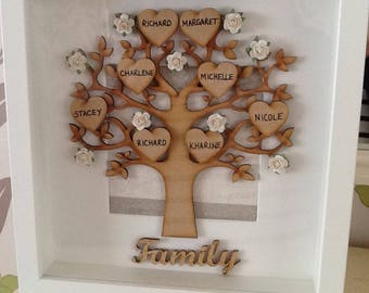 Family Tree Box Frame - Personalised Genealogy Tree - Custom Gift - Gift for her - Gift for Mother Mum Grandmother - Mothers Day Gift