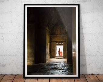 Angkor Wat Monks Photo // Cambodia Buddhist Temple Print, Asian Decor, Buddhism Travel Photography, Asia Wall Art, Temple Ruins Home Decor