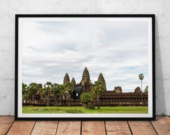 Angkor Wat Temple Photo // Cambodia Travel Photography Print, Asia Wall Art, Archaeology Home Decor, Buddhism Office Art, Buddhist History