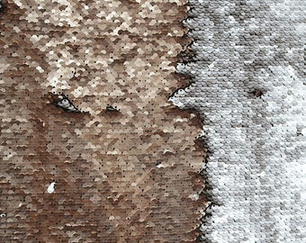 Champagne-Silver Reversible Sequin Fabric, Flip up Reversible Sequin Fabric on Spandex Fabric Sold by the Yard-FUSCS