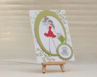 Handmade girl/female teenager shopping in red dress birthday card