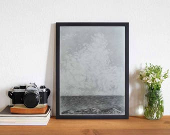 Cliff landscape, Original drawing on paper, medium size picture, made by TideGifts