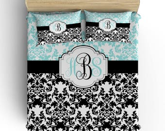 DAMASK BEDDING Comforter- Duvet Cover, Damask Pillowcase, Aqua Black Bedroom, Girl Toddler Twin Queen King, Damask Monogram Bedding Set