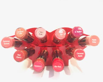 Lipstick Holder, Lipstick case, Lipstick organizer, Lipstick display, Red, Vanity decor