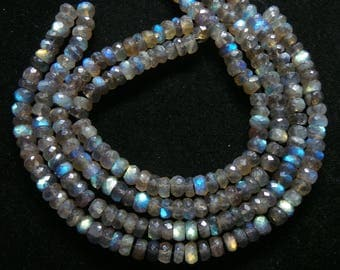 Labradorite,Faceted,Roundel, Beads,Size- 6x6 MM,Natural Labradorite,Faceted Roundel ,Beads, AAA Quality, Beads,Natural Gemstone,16 INCH