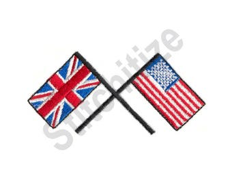 Britain And United States Flags - Machine Embroidery Design