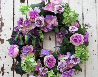 Spring Wreath with Orchid Peony, Lime Hydrangea, Cream/Purple Mini Roses, Orchid Rose Buds, Pink/Lave Hydrangea and Purple/Lime Stripe Bow