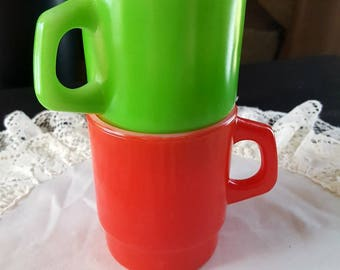 Oven Proof Mugs, Fire King, Vintage, Anchor Hocking, Restaurant Coffee Cups, Tea, Mugs, 312, Green, Red, Stacking Mugs, Nesting Cups, Retro