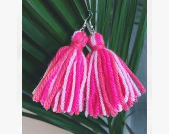 Yarn Tassel earrings multi colour