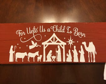 For Unto Us a Child is Born wood vinyl sign
