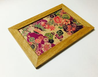 Wooden plate/middle/cloth/made in Japan/Kyoto/accessory/jewelry display/gift/mediocrity/trays/wooden/Japanese pattern/tray