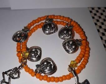 Pumpkin Bracelet, halloween bracelet, halloween jewelry, halloween charm, charm bracelet, pumpkins