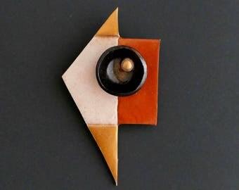 "BROOCH #1 ""spices"" polymer clay art Jewel"