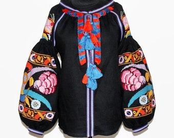 Vyshyvanka Blouse Embroidered Blouses Ukrainian Embroidery Bohemian Clothing Vishivanka Boho Clothes Mexican Ukraine Shirt Black Fairytale