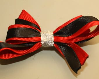 Dog or Puppy Hair Bow, 3 Inch, Red, Black and Silver
