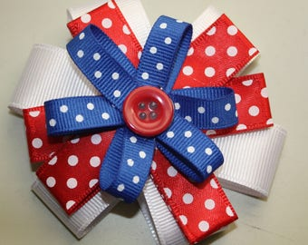 3 Inch Hair Bow, Red White and Blue ribbon,Alligator Clip