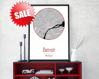 DETROIT CITY, Detroit home decor, Detroit Michigan, Travel Gifts, Michigan print, Detroit canvas, Home town wall decor, USA map poster, Art