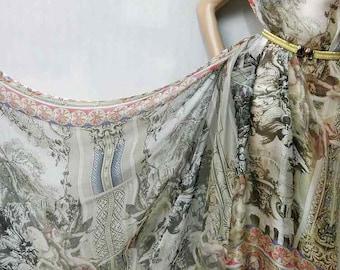 Pure Natural Silk dpc-33051 Renaissance Foundtain Design Digital Print Pattern 6mm Pure Silk Chiffon Fabric material sheer Yard or Meters
