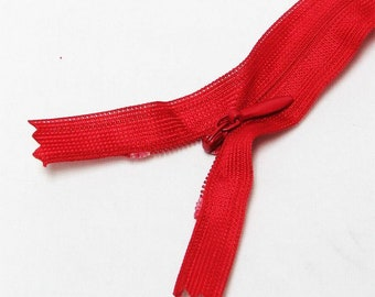 """Red 16"""" inches 40cm invisible nylon hidden zipper zips zip close end for closure (yinsin- zip-16in-250)"""