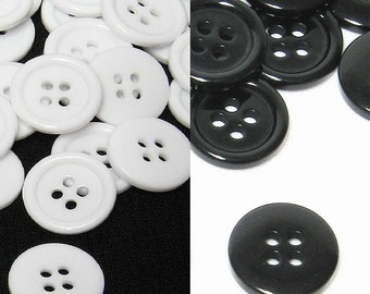 10 pcs. Black or White Top quality plastic resin 4 holes flatback sewing buttons for clothing and crafts size 24,28,30,32,34,36,40,44,48,60
