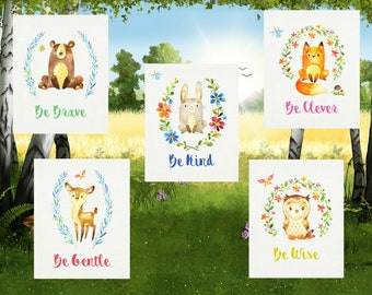Woodland Animals Set Nursery Printables Childrens Digital Wall Art Instant Download Baby Shower Newborn Toddler Art