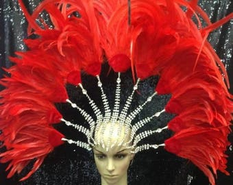 Crystal headdress with RED feather