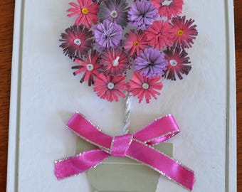 Topiary tree of daisies - handmade quilled greeting card