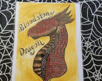 Blood Dragon original ink & watercolor 7x10