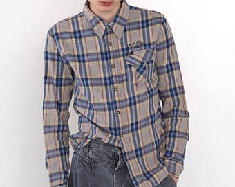 VINTAGE Grey LEE Checked Long Sleeve Button Down Retro Shirt