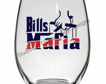 Bills Mafia Wine Glass