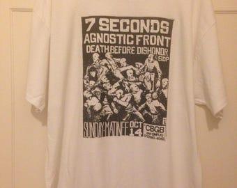 T-shirt Old Punk Rock Concert Flyer 7 Seconds Agnostic Front at CBGB.